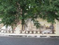 Забытый и облезлый мурал возле главных ворот Никополя