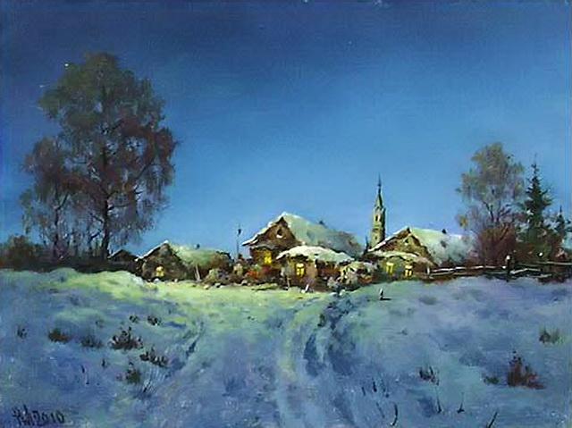 Зимняя ночь. Автор Николай Луговенко