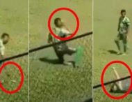 Футболист во время матча ударил себя камнем