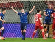 Российские футболисты не могли выбраться из объятий друг друга