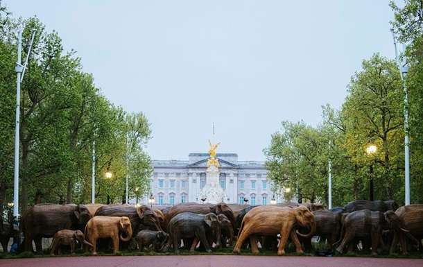 У Букингемского дворца появились 125 деревянных слонов