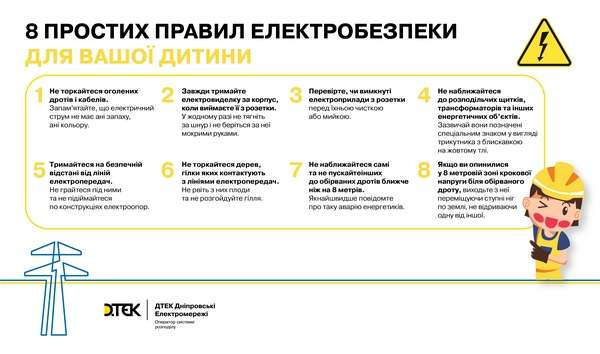 Дніпровські електромережі нагадує 8 простих правил електробезпеки для дітей під час літніх канікул